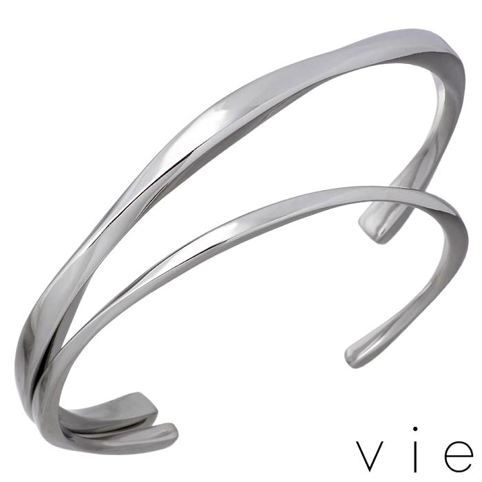 vie【ヴィー】 ステンレス ペア バングル アクセサリー 金属アレルギー対応 2本セット 刻印可能 vie-B1243-44-P
