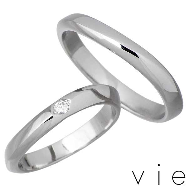 vie【ヴィー】 ステンレス ペア リング 金属アレルギー対応 指輪 アクセサリー ダイヤモンド 7~15号 13~21号 アレルギーフリー 刻印可能 vie-R1229-30-P