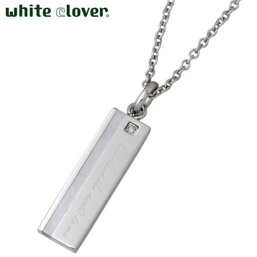 white clover【ホワイトクローバー】 ネックレス アクセサリー 金属アレルギー対応 ダイヤモンド X ホワイトシェル ステンレス メッセージ アレルギーフリー 4SUP002WH