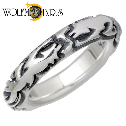 WOLFMAN B.R.S【ウルフマン B.R.S】 ウルフ バンド シルバー リング 指輪 アクセサリー 狼 15~21号 シルバー925 スターリングシルバー NW-R-2
