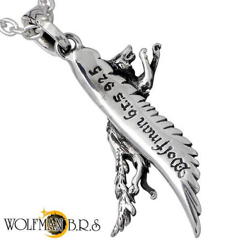 Swarovski wolf feather feather silver accessories silver 925 WO-P-175CL100  with the WOLFMAN B R S running wolf x feather silver necklace chain
