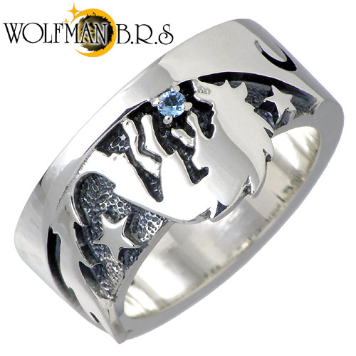 WOLFMAN B.R.S【ウルフマン B.R.S】 ムーンシャドウ ウルフ シルバー リング 指輪 シルバーアクセサリー シルバー925 NW-R-01