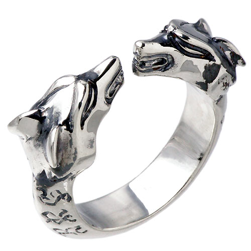 WOLFMAN B.R.S【ウルフマン B.R.S】 ダブル ヘッド シルバー リング 指輪 アクセサリー シルバー925 スターリングシルバー WO-R-030