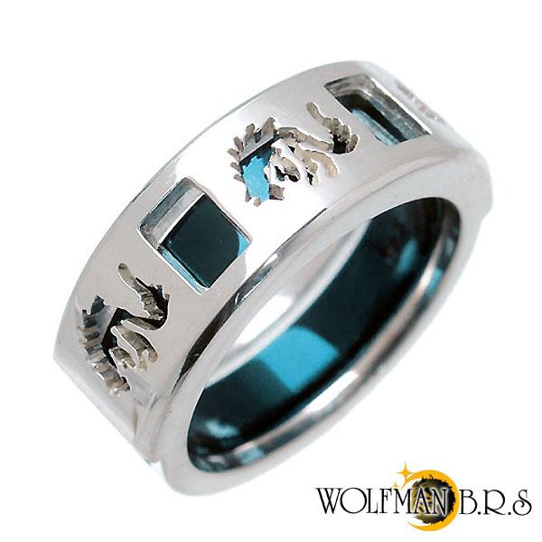 WOLFMAN B.R.S【ウルフマン B.R.S】 ホワイトファング ウルフ シルバー リング ブルーチタン 指輪 シルバーアクセサリー シルバー925 WO-R-054