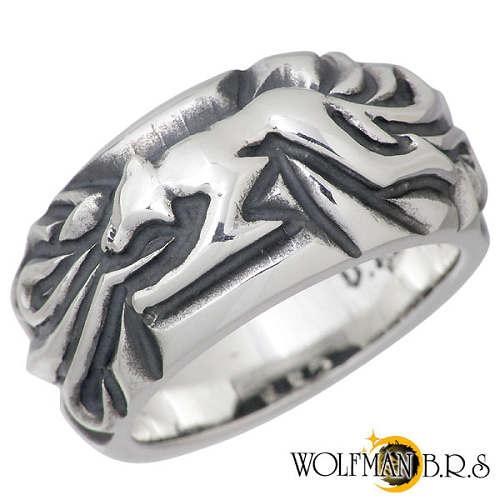 WOLFMAN B.R.S【ウルフマン B.R.S】 ウルフ デザイン シルバー リング 指輪 19~23号 シルバーアクセサリー シルバー925 NW-R-6