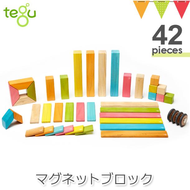 tegu(テグ) マグネットブロック ティント42P|木のおもちゃ 積み木 知育玩具 立体パズル
