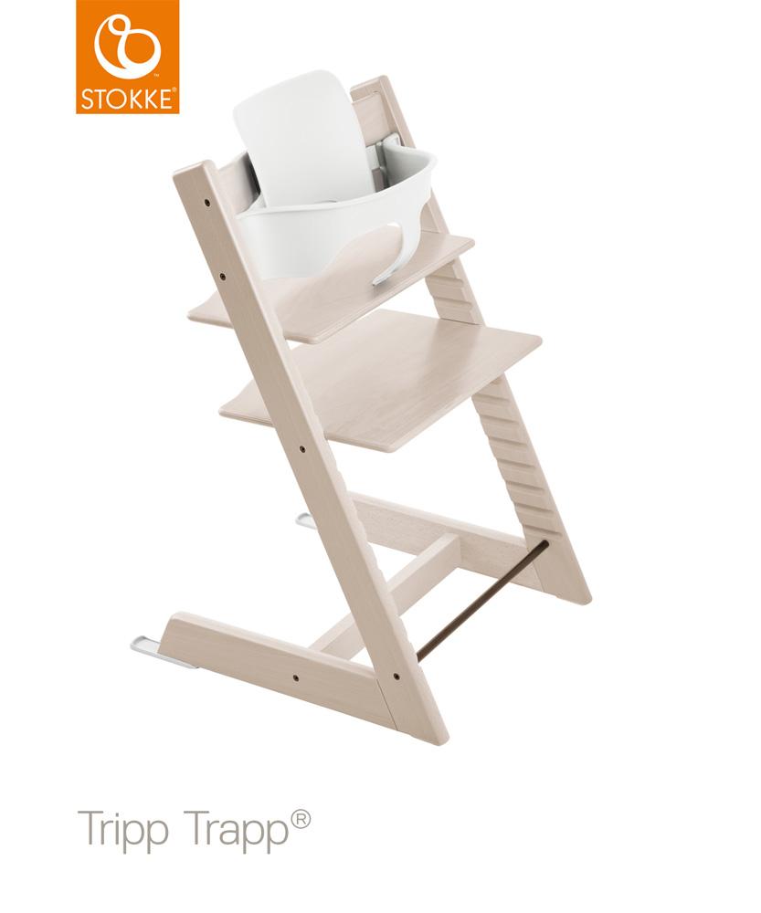 【セット】【ストッケ正規販売店】トリップトラップ チェア【ホワイトウォッシュ】+選べるベビーセット|ハイチェア|Stokke Tripp Trapp Chair【送料無料】★