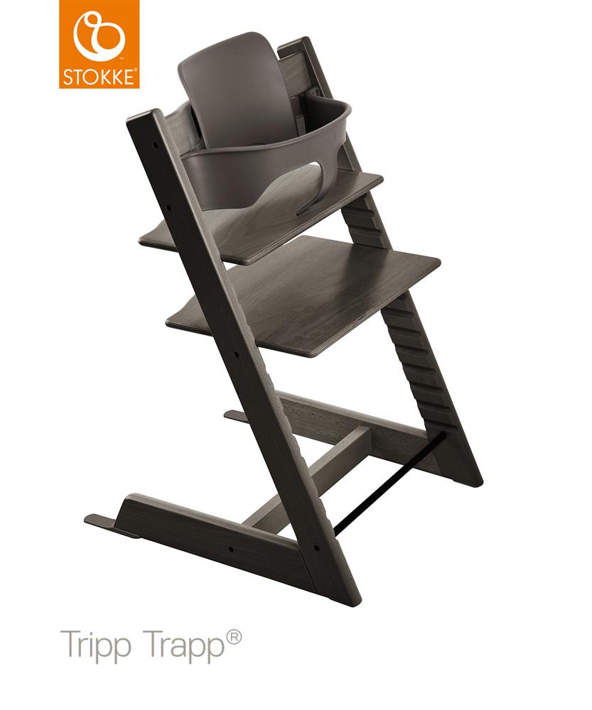 【セット】【ストッケ正規販売店】トリップトラップ チェア【ヘイジーグレー】+選べるベビーセット|ハイチェア|Stokke Tripp Trapp Chair【送料無料】★