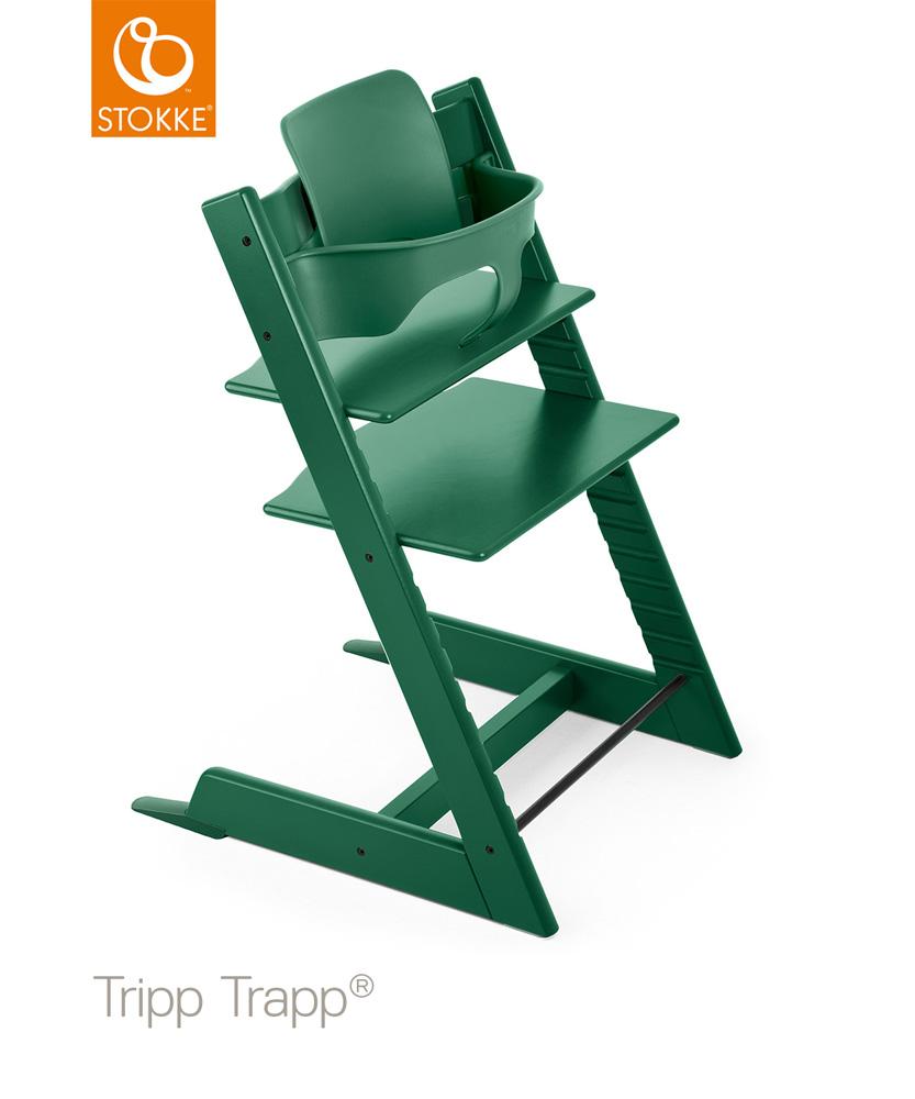 【セット】【ストッケ正規販売店】トリップトラップ チェア【フォレストグリーン】+選べるベビーセット|ハイチェア|Stokke Tripp Trapp Chair【送料無料】★