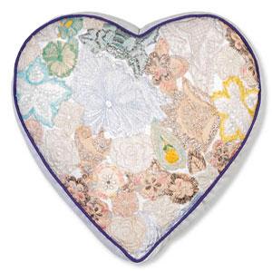 COLORIQUE/カラリクビンテージサリーハート♡クッション(ホワイト)【Bindi Filled Heart Cushion 】