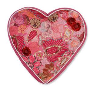 COLORIQUE/カラリクビンテージサリーハート♡クッション(ラズベリー)【Bindi Filled Heart Cushion 】