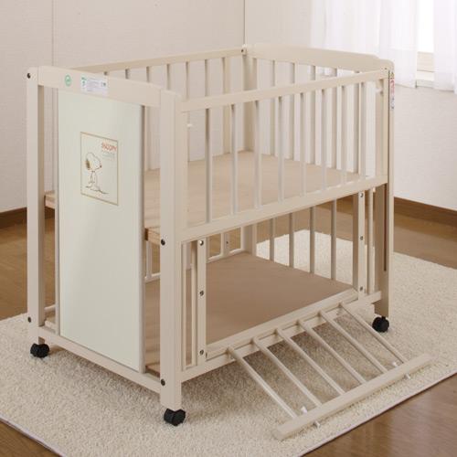유아용 침대 『 미니 스 누 피 선반을 갖춘 에코 (화이트 색상) 미니 이부자리 A 첨부 』 스 누 피 미니 침대 + 아기 이부자리의 유익한 세트