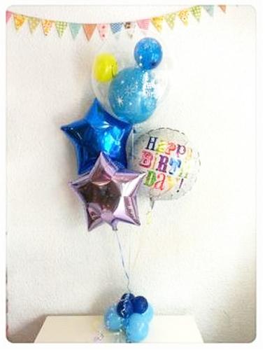 バルーン 記念日 サプライズ オリジナル 電報 装飾 プレゼント メッセージ 名入れ 文字入れ おしゃれ ギフト バースデー アート出産祝い 開店祝い お祝い パーティ 風船 バルーン ギフト 透明バルーンと星のハッピーバースデーSET☆