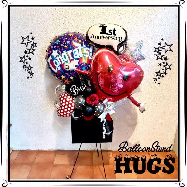 バルーン 記念日 サプライズ オリジナル 電報 装飾 プレゼント メッセージ 名入れ 文字入れ おしゃれ ギフト バースデー アート 誕生日 出産祝い 開店祝い パーティ 風船 バルーン ギフト ミニバルーンスタンド ハグス