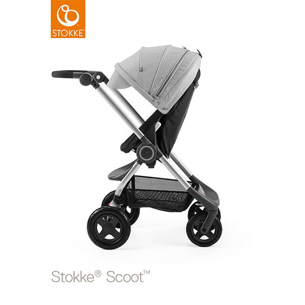 【STOKKEストッケ正規販売店】Stokke Scoot2ストッケ 新スクート2セットベーシックキット(ブラック) キャノピー(グレーメラーンジ)
