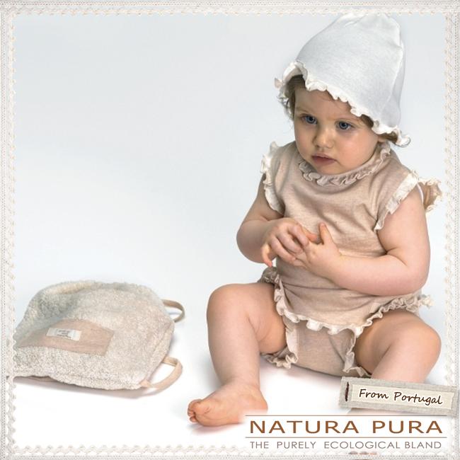 NATURAPURA ナチュラプラ フリル付ノースリーブ パンツ 帽子 ナップサックの4点セット サイズ 18ヶ月 オーガニックNnvm80w