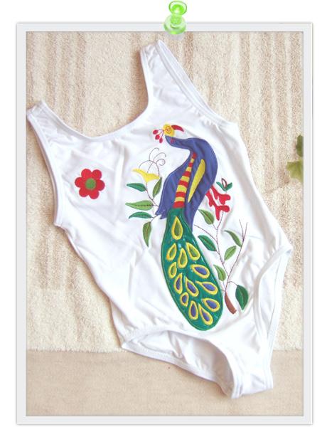 Spain-petit Blau Mari ( Petit ブラウマリ ) white peacocks shirt! Girls one piece swimsuit, size: 4-year-old and 6-year-old and 14-year-old 4-year-old: 5-year-old woman: her 6-year-old woman