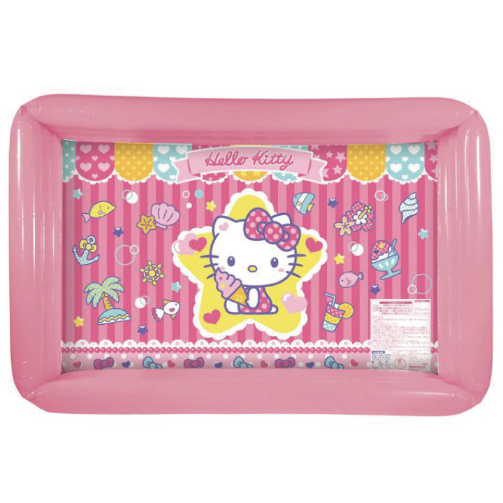 It Is A Porch With All The Hot Weather Bottoms Happily In Child Kids Outside Playing Water POP Summer Showing Cute Hello Kitty Colorful
