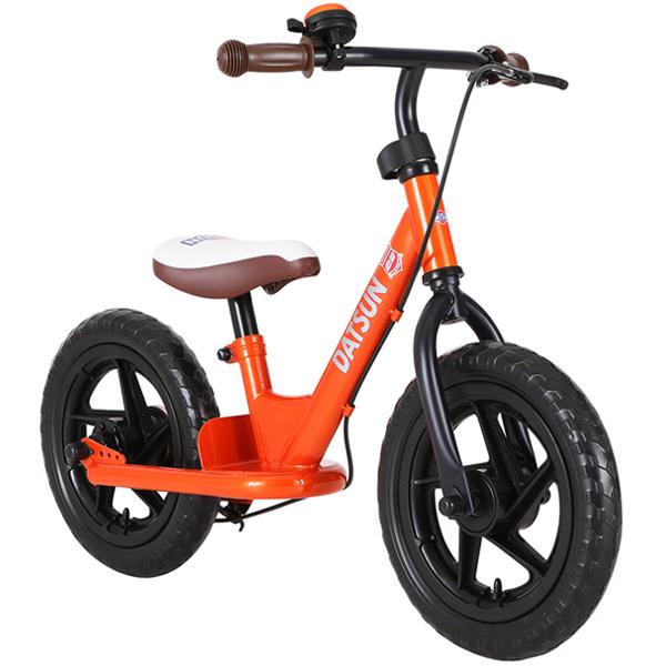 ダットサン ファーストバイク12 オレンジ バランスバイク ランニングバイク 子供用 ブレーキ スタンド付き ベル付き DATSUN 【エムアンドエム】