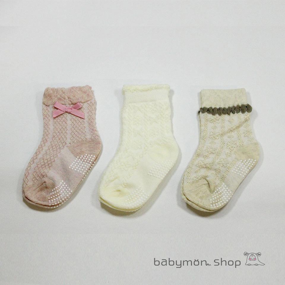 靴下 ソックス ベビー 3足セット クルーソックス ナチュラル シンプル 新着 リボン かわいい ギフト くつした 赤ちゃん ベビー服 ベビー靴下 子供服 9-15cm 男の子 3P 発売モデル