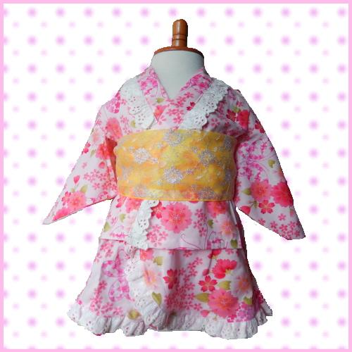 c7b1c12562831 楽天市場 80 90 95 100cm ETK 浴衣 ワンピース ドレス 日本製桜&蝶 ...