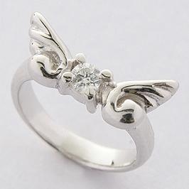 ベビーリング 刻印 出産祝い 天使の翼 誕生石 4月 ダイヤモンド 宝石箱セット チェーン付