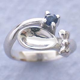 ベビーリング ネックレス 刻印 出産祝い 銀のスプーン スプーン 誕生石 9月 サファイア 宝石箱セット チェーン付 名入れ可