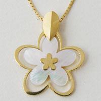 お花のネックレス 白蝶貝 シェル イエローゴールド シルバーネックレス ホワイトデー