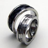 ステンレス ペアリング ペアリング 刻印無料 vie 3×2連回転リング R1005-R1070 人気のブラックカラー