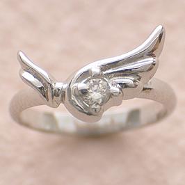 ベビーリング 刻印 出産祝い ウイングベビーリング 誕生石 4月 ダイヤモンド 宝石箱セット チェーン付
