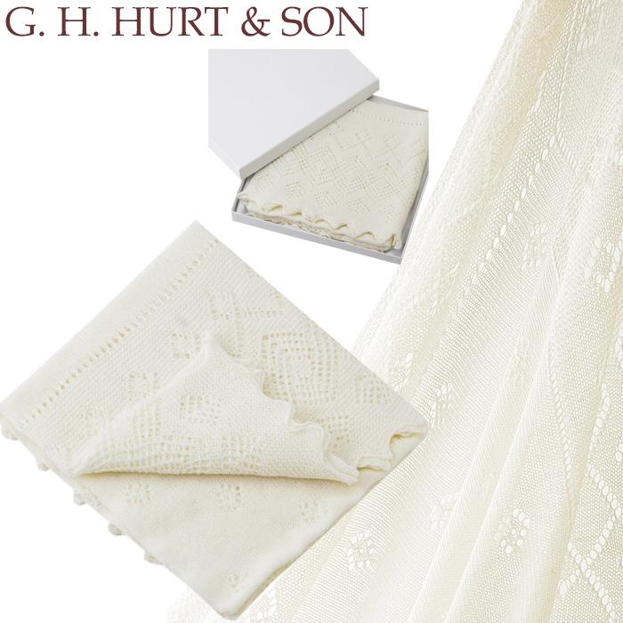 【全品15%オフクーポン】 G.H.HURT&SON おくるみ ジーエイチハートアンドサン 【ギフトBOX入り】G.H.HURT&SON Super Fine Merino Wool Christening Shawl メリノウールショール ショール メリノウール レース ベビーショール 出産祝い ギフト