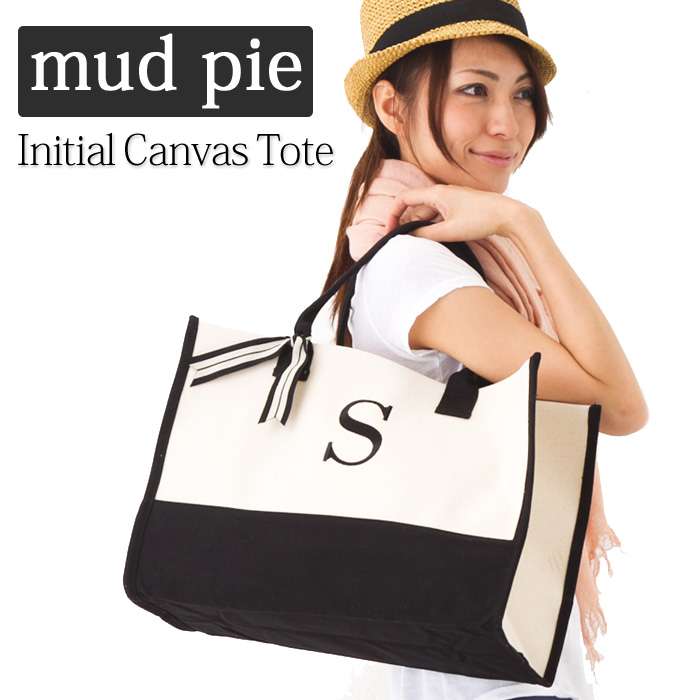 097f4be3285b The BabyStore  The mud pie initial Tote   Mud Pie Initial Canvas Tote