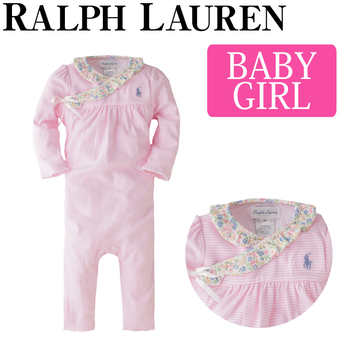 4b9087423 Child pink floral design cotton POLO RALPH LAUREN baby gift ribbon polo  long sleeves babyware baby ...