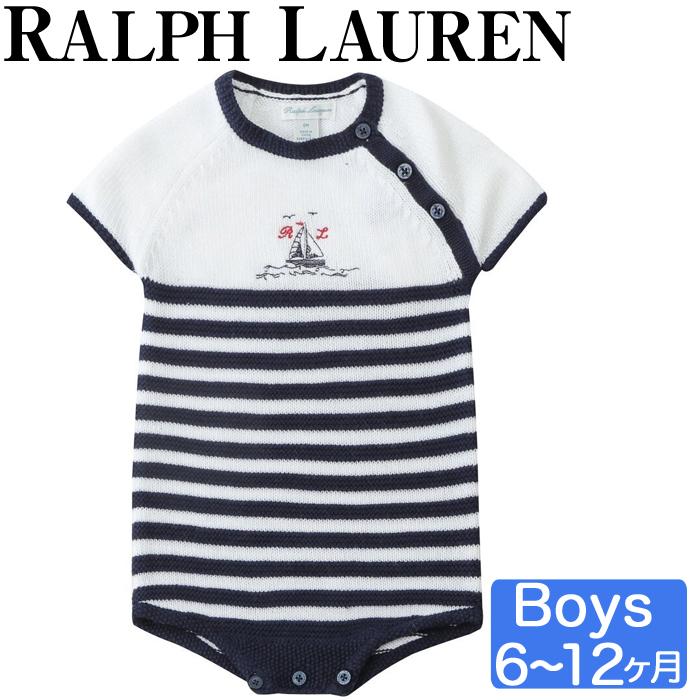 Polo ラルフローレン ベビー ビッグポニー ロンパース カバーオール ストライプ 半袖 ベビー キッズ 男の子 Polo 6-12ヶ月 ギフト POLO RALPH LAUREN ポロ