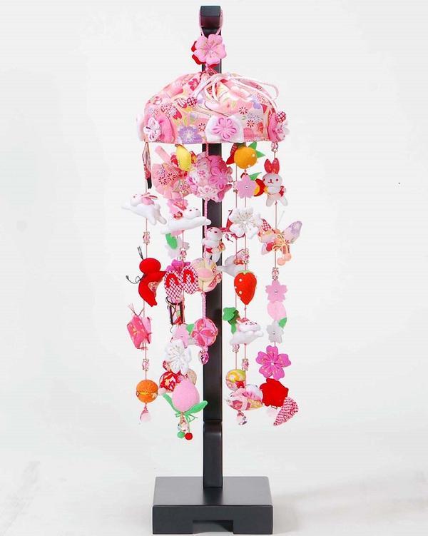 つるし雛 「うさぎのキラキラ吊るし」飾台セット 高さ66cm スワロフスキークリスタルガラス