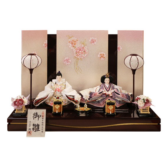 雛人形 白鳳刺繍 二人飾り 親王飾り コンパクト 金彩刺繍