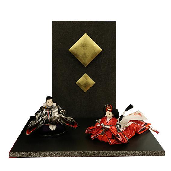 雛人形 親王飾り 菱形金 黒屏風