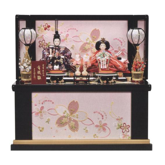 雛人形 瑞鳳刺繍 収納飾り 桜にりぼん 二人飾り
