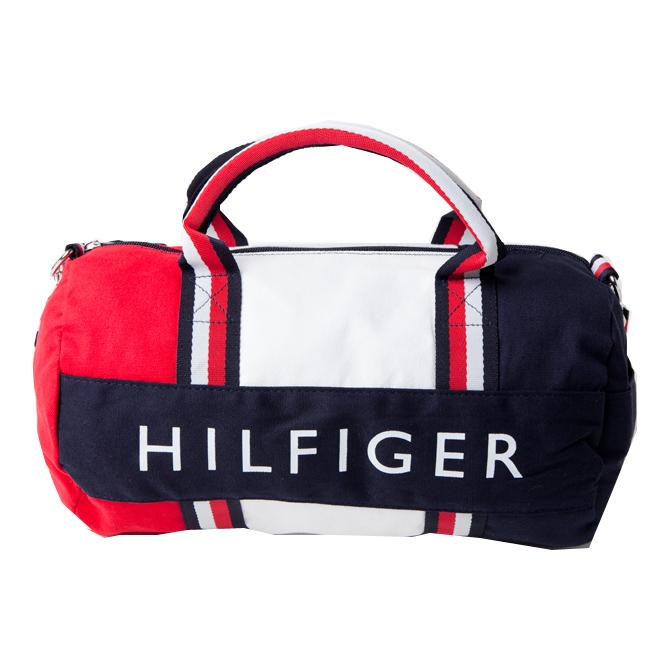 トミーフィルフィガー TOMMY HILFIGER コットン ダッフル ミニボストン ロゴ ボストン バッグ ネイビー レッド ホワイト w66940598 645 ラッピング不可