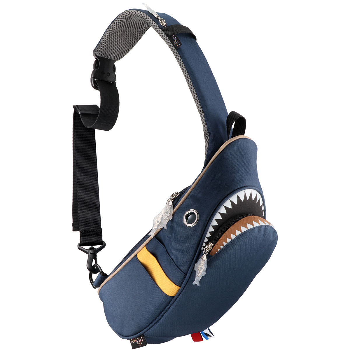 ウエストポーチ モーンクリエイションズ シャークスリングバッグ 5L 2019新作 収納スペースは全部で10ヶ所! ファスナー付きポケット ウエストバッグ ウエストバック MORN CREATIONS サメバッグ シャークバッグ コンビ ネイビー/マスタード