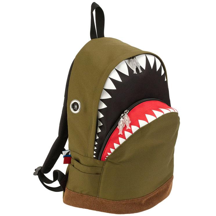 リュック MORN CREATIONS シャーク バックパック Lサイズ モーンクリエイションズ サメ リュックサック グリーン