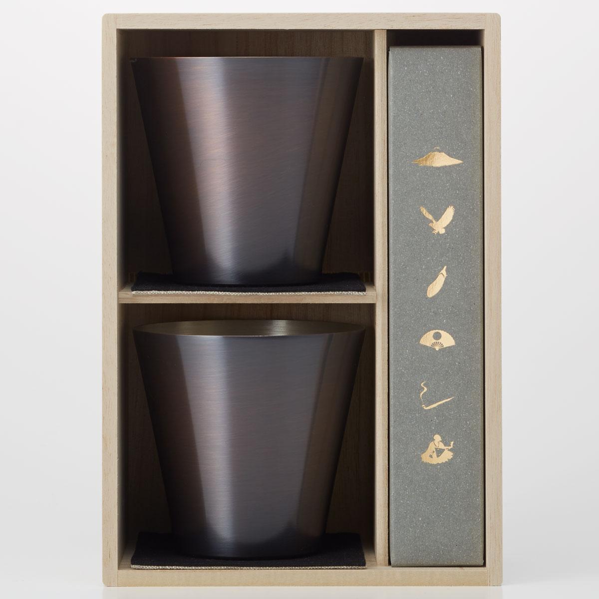 ロックグラス WDH 純銅製オールド 460ml&スプーン 2セット 銅製品 ダブリューディーエイチ ブラウン