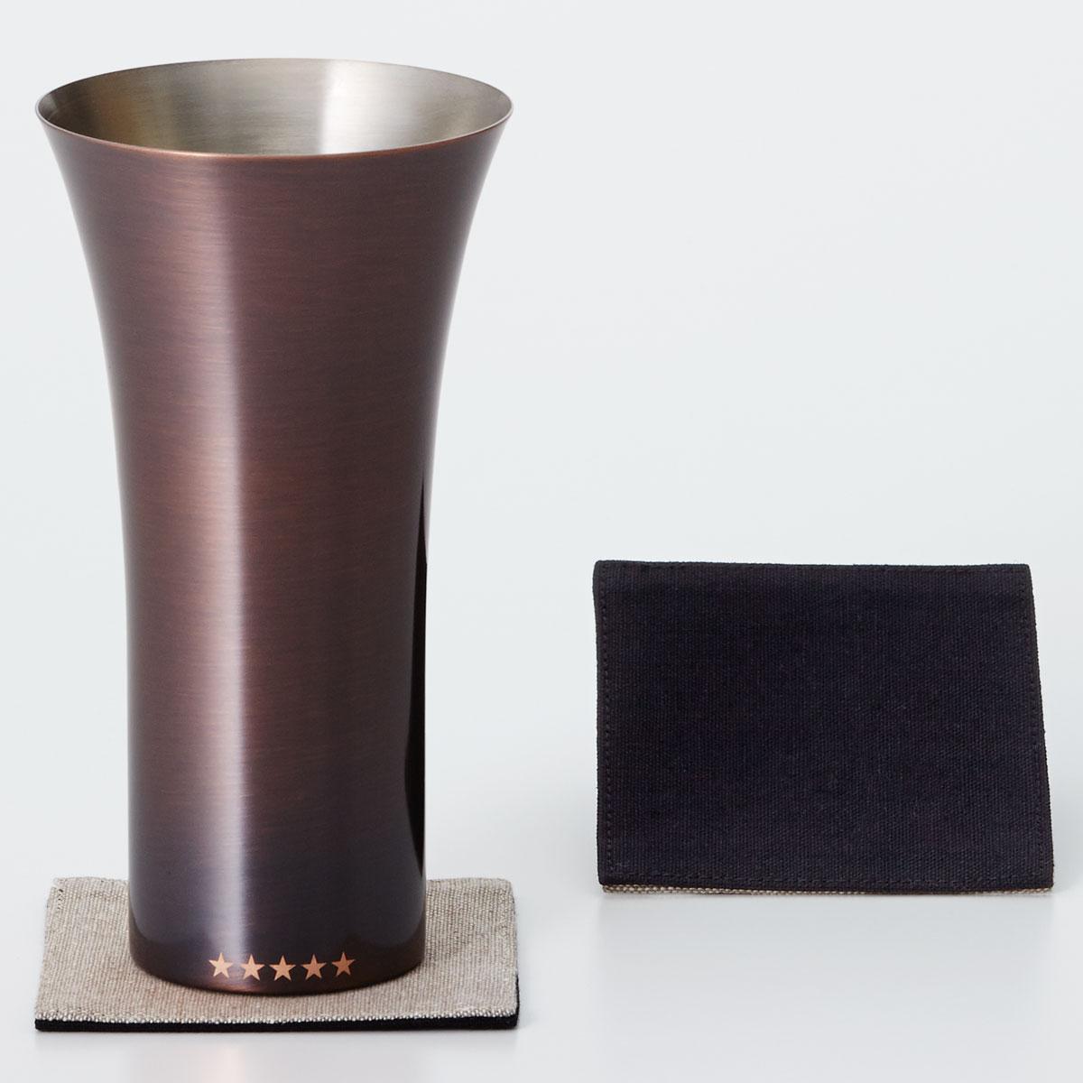 タンブラー WDH 純銅製タンブラー 380ml 銅製品 ダブリューディーエイチ ビールグラス ブラウン