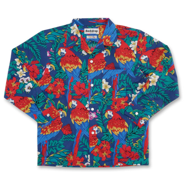 【BACKDROP】(バックドロップ) L/S OPEN COLLAR SHIRT / ロングスリーブ オープンカラー シャツ (ネイビー) 渋谷 バックドロップ 渋谷の老舗アメカジショップ the back drop アメカジ定番 Hoffman California Fabrics ハフマン ファブリックス サーフィン アロハ