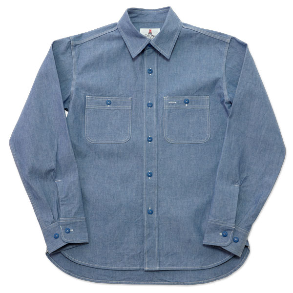 【SOUTH WEST】(サウスウエスト) CHAMBRAY SHIRT BLUE BUTTON / シャンブレーシャツ ブルーボタン (インディゴ) 渋谷 バックドロップ 渋谷の老舗アメカジショップ the back drop アメカジ定番 メンズ 日本製 MADE IN JAPAN ボタンワークス ワークパンツ