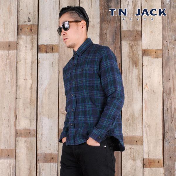 【40%OFF】【T.N JACK】(ティーエヌジャック) Wool Work Shirt / ウール ワークシャツ (グリーン) メンズ アメカジ 渋谷 老舗アメカジショップ back drop 日本製 メイドインジャパン 送料無料