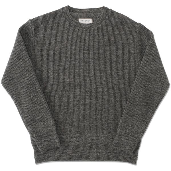 【T.N JACK】(ティーエヌジャック) Shetland Crew Sweater (グレー) / シェットランド クルーセーター メンズ アメカジ 渋谷 老舗アメカジショップ back drop 日本製 メイドインジャパン 送料無料
