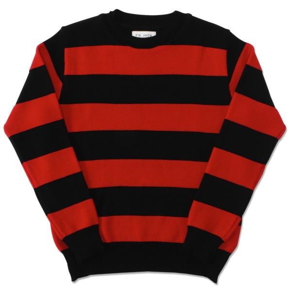 【T.N JACK】(ティーエヌジャック) Border Crew Sweater (ブラック/レッド) / ボーダー クルーセーター メンズ アメカジ 渋谷 老舗アメカジショップ back drop 日本製 メイドインジャパン 送料無料