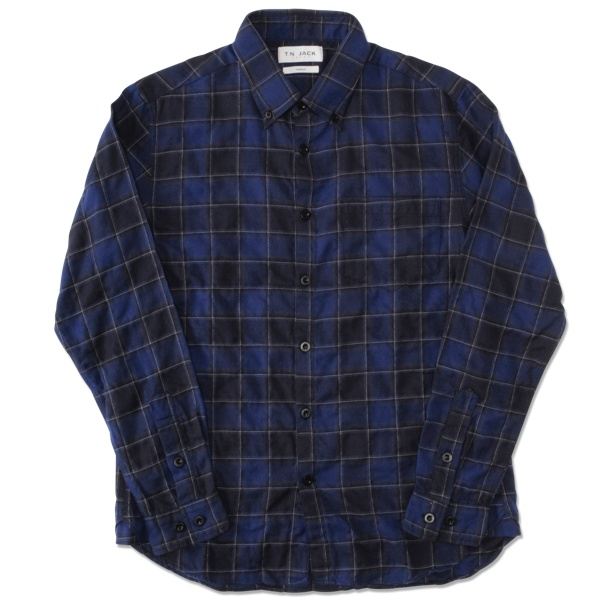 【T.N JACK】(ティーエヌジャック) Stretch Cotton BD Shirt (ブルー) / ストレッチコットン ボタンダウンシャツ メンズ アメカジ渋谷 バックドロップ 渋谷の老舗アメカジショップ back drop 日本製 メイドインジャパン 送料無料