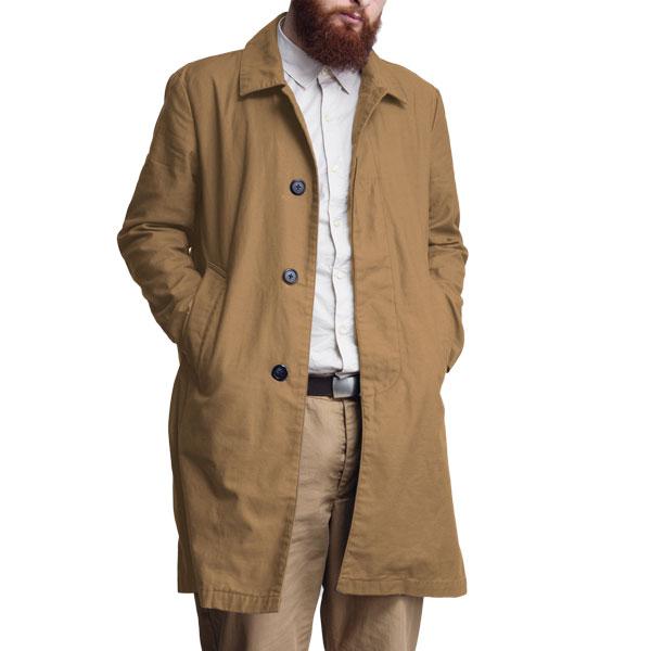 【T.N JACK】(ティーエヌジャック) Stain Color Coat (ベージュ) / ステンカラー コート メンズ アメカジ 渋谷 老舗アメカジショップ back drop 日本製 メイドインジャパン